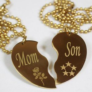 Jewelry - Split Heart Necklaces Mom Son Gold Stainless Steel